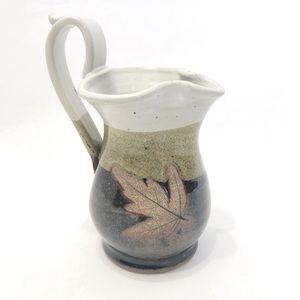 Artisan Crafted | Leaf Imprint Stoneware Pitcher